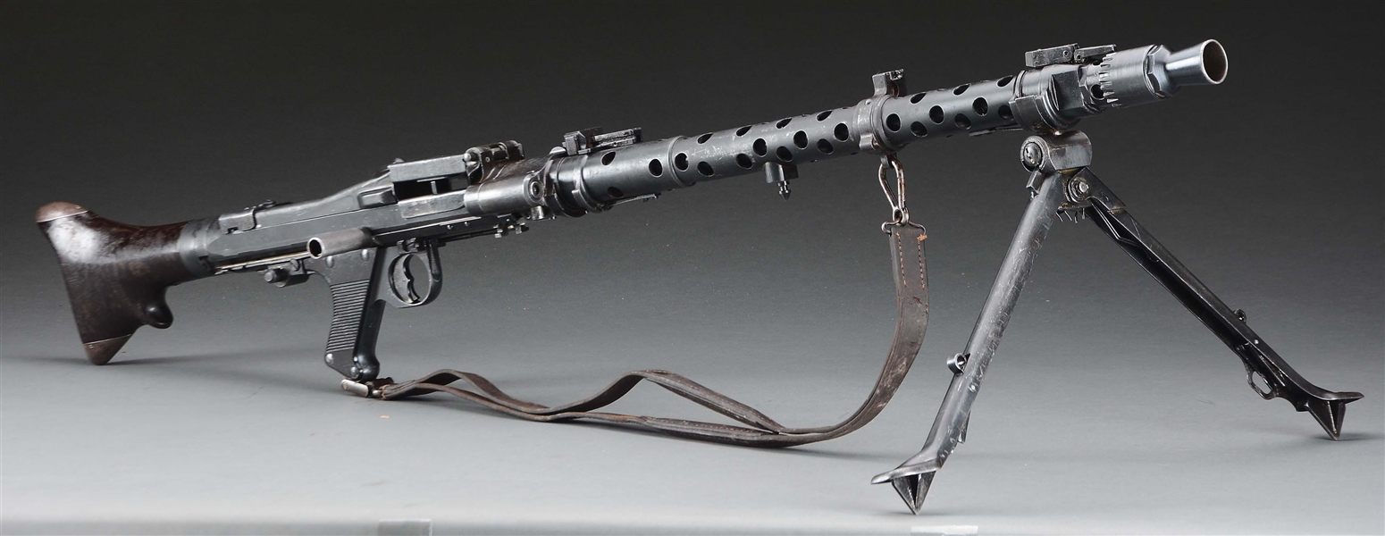 (N) EXTREMELY ATTRACTIVE AND NEAR MATCHING GERMAN WW2 MG-34 MACHINE GUN WITH RARE EARLY BUTT ASSEMBLY (CURIO & RELIC)