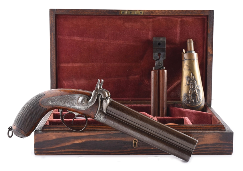 (A) CASED & ENGRAVED FRENCH OR BELGIAN HOWDAH OVER-UNDER PERCUSSION PISTOL.