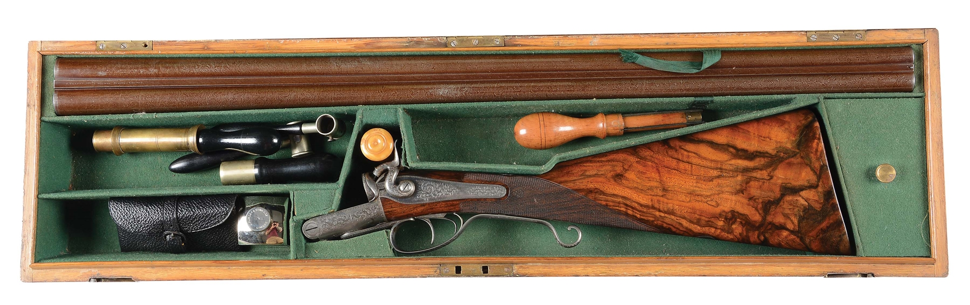 (A) ATTRACTIVE HIGH CONDITION JAMES PURDEY HAMMER SIDE BY SIDE SHOTGUN INCORPORATING UNUSUAL LONG GUARD LEVER WITH CASE AND ACCESSORIES.
