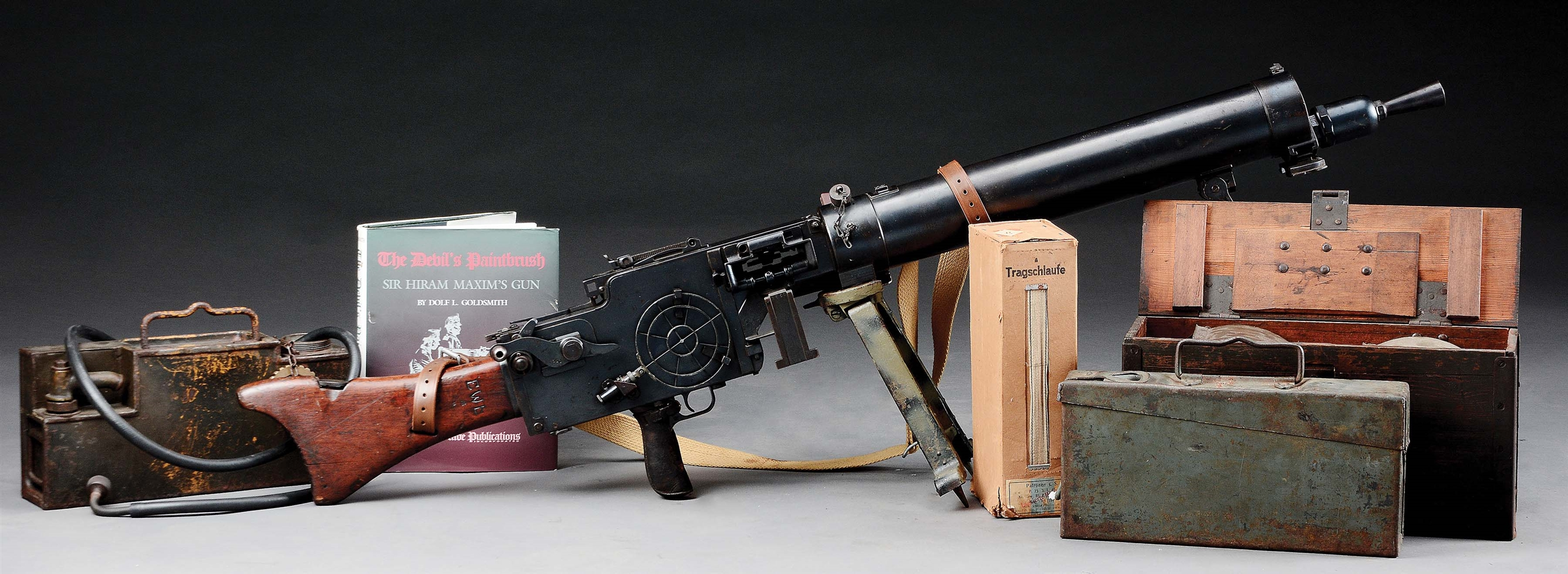 (N) FANTASTIC AND EXTRAORDINARILY RARE GERMAN WW1 MG 08/15 MAXIM MACHINE GUN RETROFITTED DURING WEIMAR ERA WITH SPECIAL FEED BLOCK EQUIPPED TO MG 34 OR CLOTH BELTS (CURIO AND RELIC)