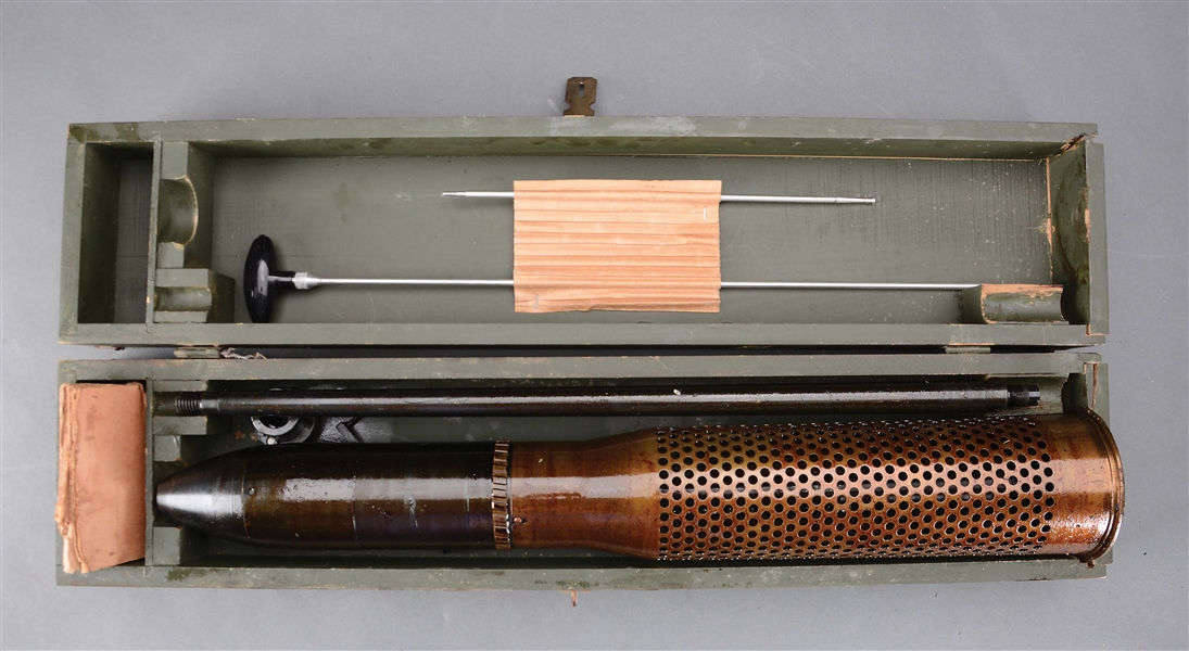 RARE AND DESIRABLE U.S. MILITARY SUB-CALIBER DEVICE FOR THE M-20 75 MM RECOILESS RIFLE IN ORIGINAL BOX