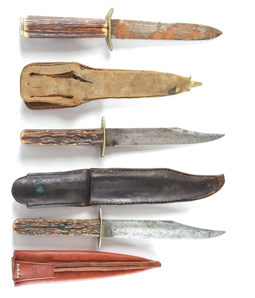 LOT OF 3: HUNTING KNIVES ONCE OWNED BY A.W. DU BRAY - FAMOUS PARKER GUN SALESMAN AND SHOOTER.