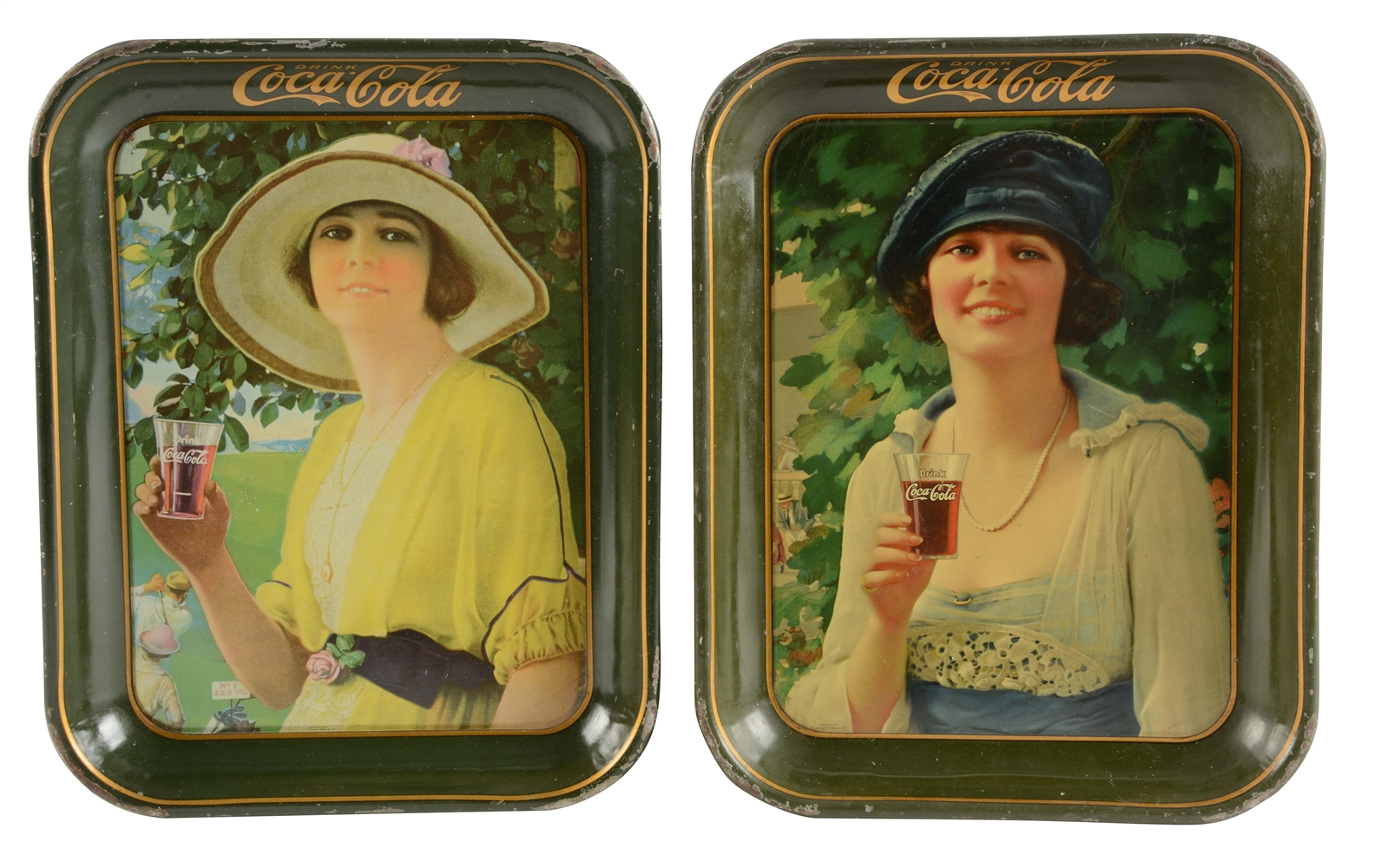 Lot Of 2: 1920 and 1921 Coca-Cola Advertising Trays.