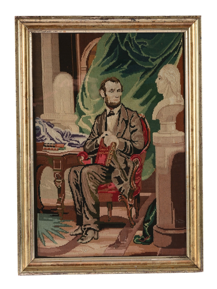FINE AMERICAN SCHOOL 19TH CENTURY NEEDLEWORK OF ABRAHAM LINCOLN.