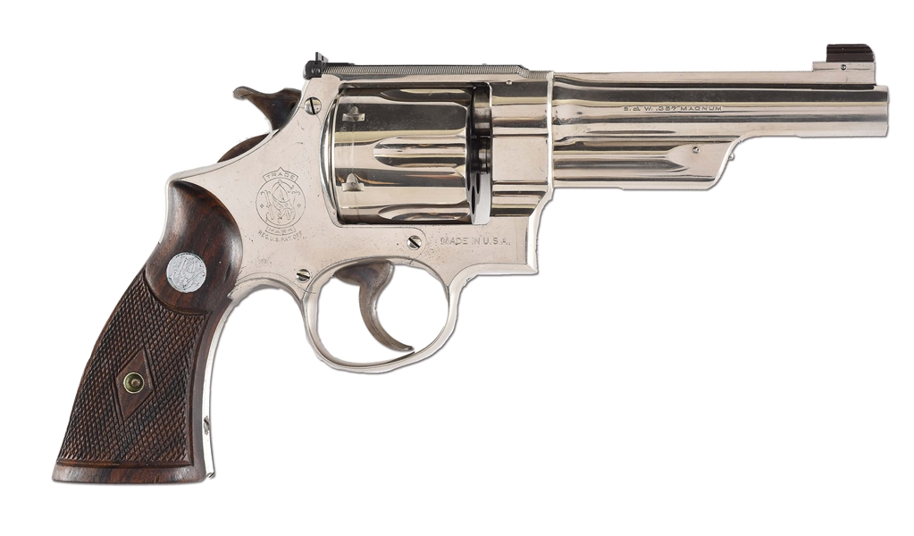 (C) RARE DOCUMENTED NICKEL FINISH SMITH & WESSON REGISTERED MAGNUM REVOLVER