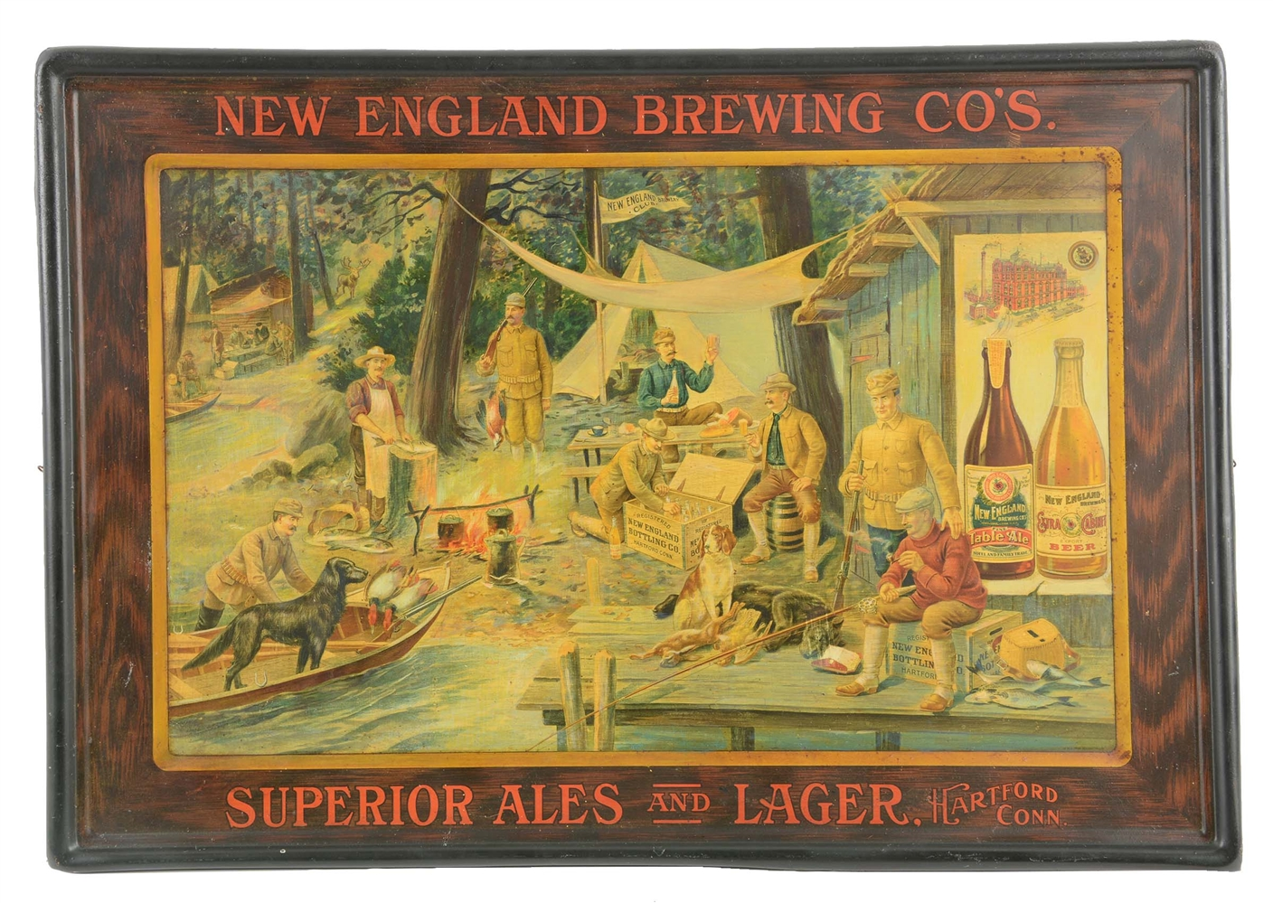New England Brewing Co. Tin Litho Sign.