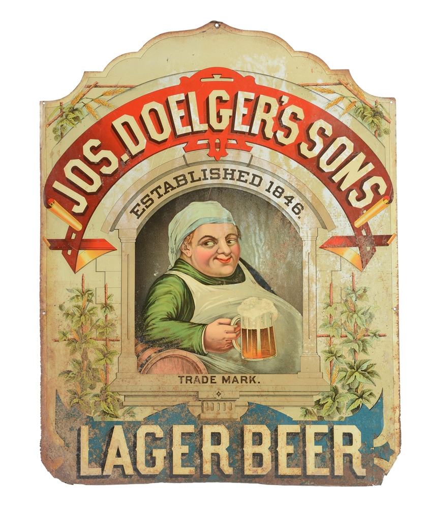 Jos. Doelgers Sons Lager Beer Tin Sign.