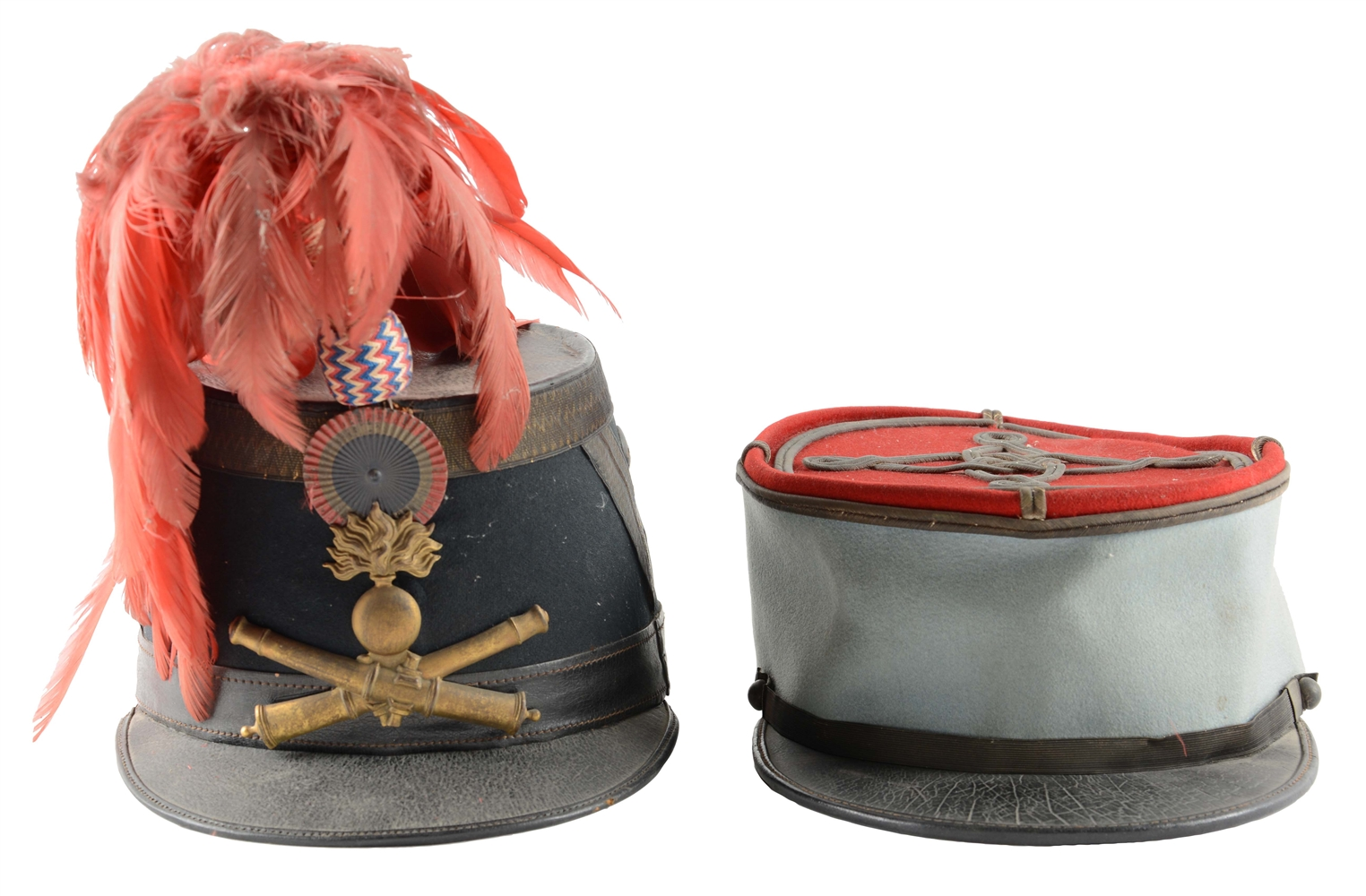 Lot of 2: French Model 1872 Artillery Officers Shako & Kepi.