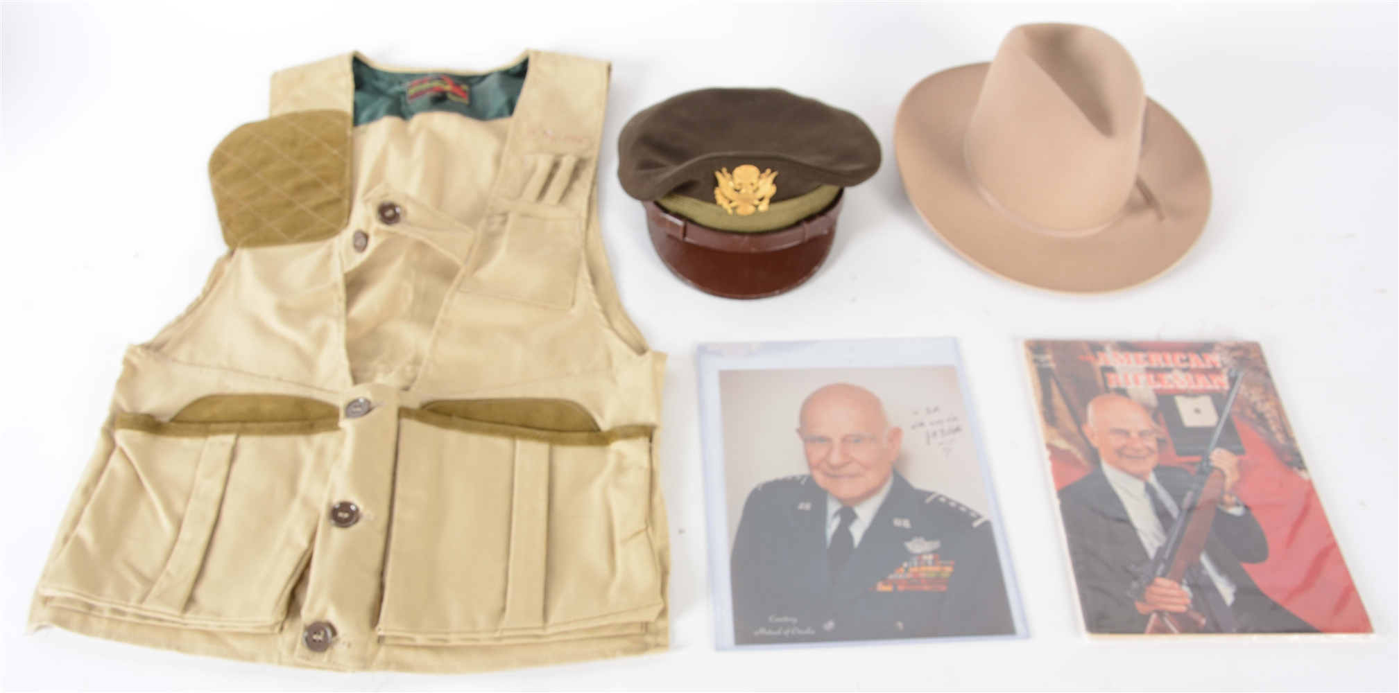 Lot Of 4: General James Doolittles Visored Hat, Stetson & Vest With Pictures.