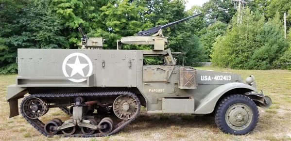 "Extremely Desireable WWII US Military M3 (M2A1) Half-Track ""Papoose"" USA-402413 With Dummy Display Machine Guns."