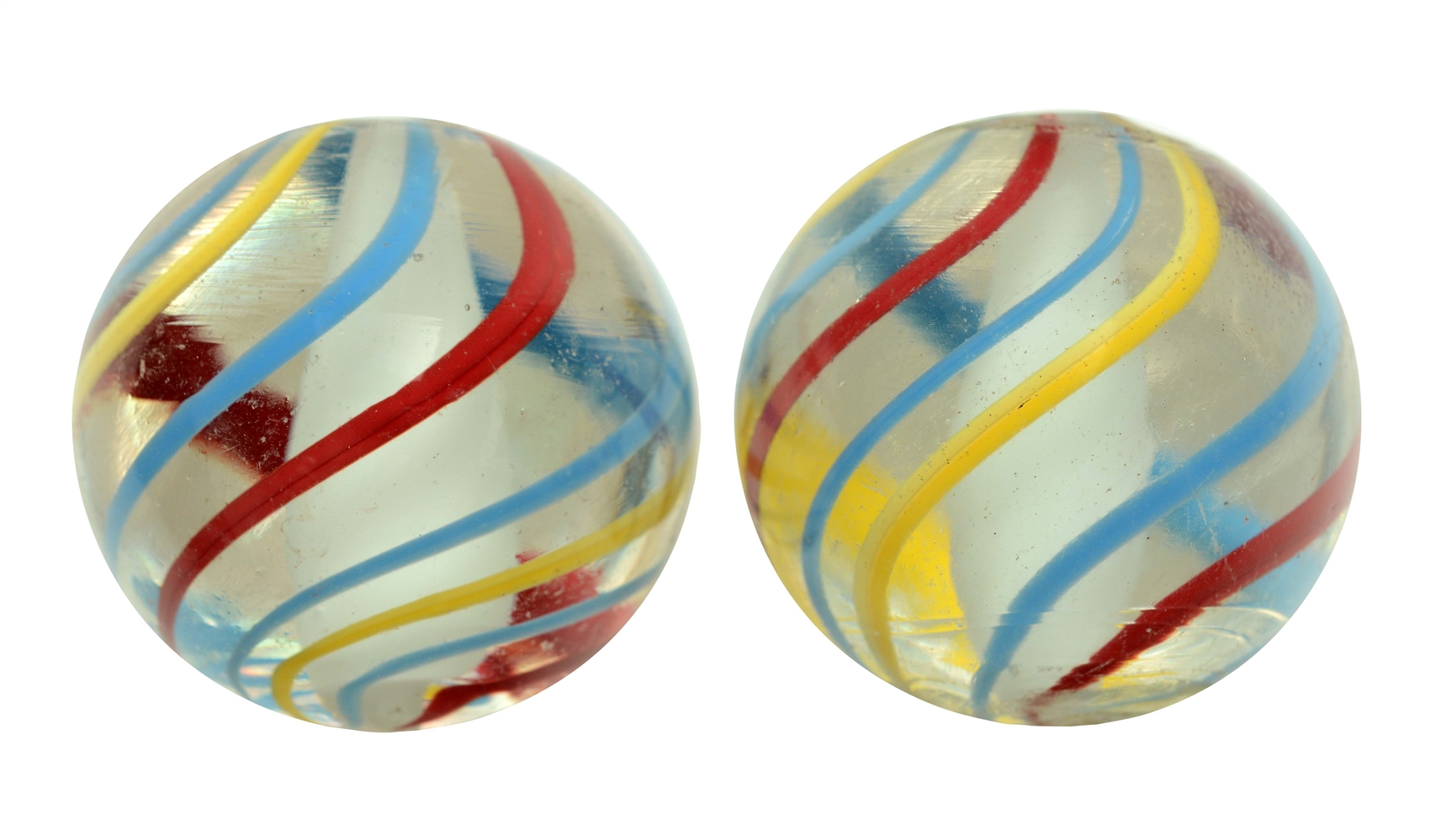 Lot of 2: Same Cane Solid White Core Marbles.