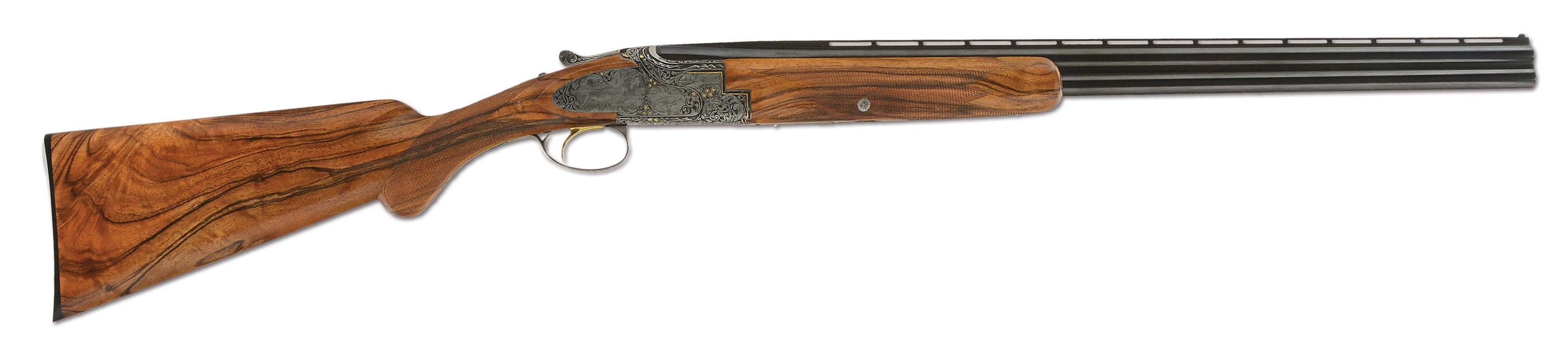 (C) Customized Browning Superposed 20 Gauge Over-Under Shotgun with Relief Engraving and Gold Inlay by Ron Reimer (1961).