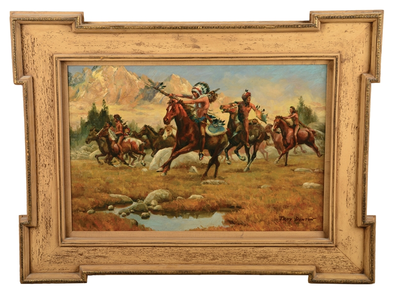 Framed Denton Oil Painting Of Native American Charge.