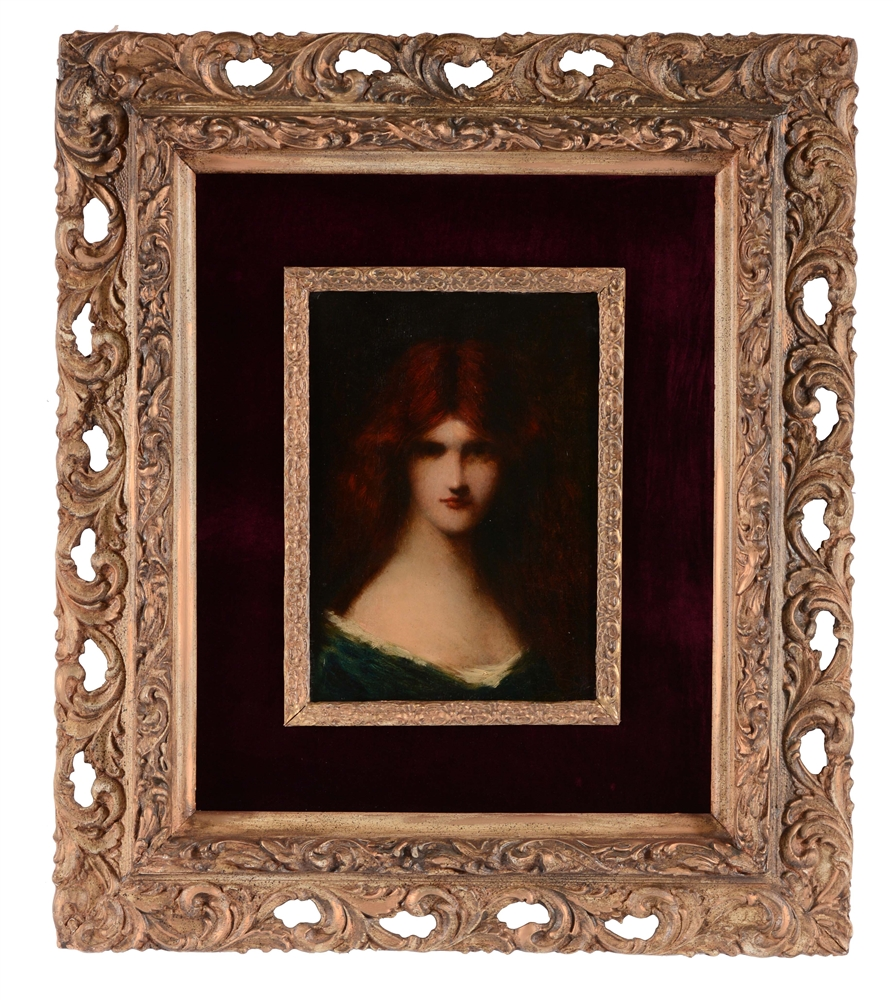 JEAN-JACQUES HENNER (French, 1829 - 1905) RED HAIRED BEAUTY.