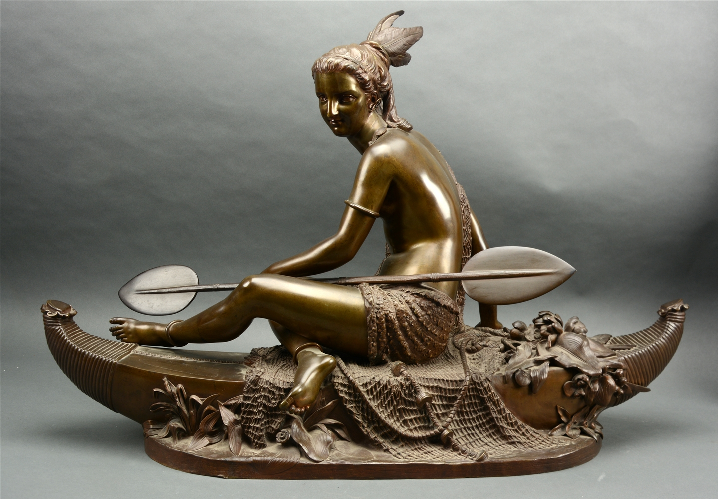 "After Duchoiselle (19th Century French) ""Allegory Of Fishing"" Bronze Statue."