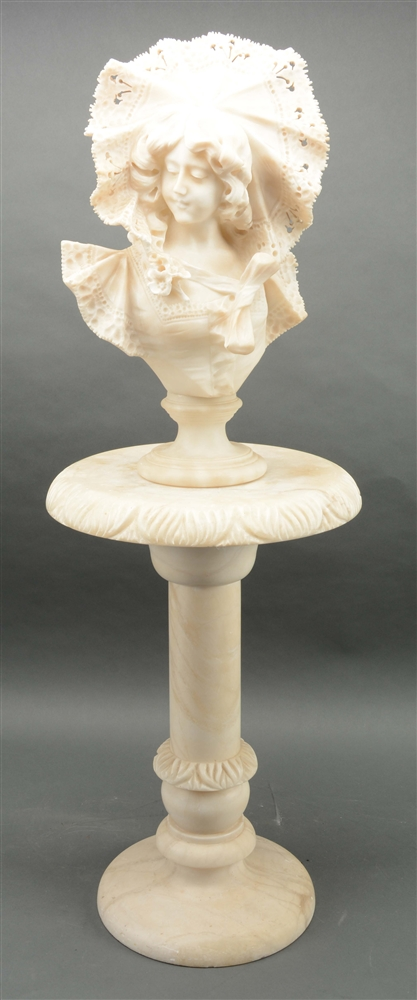 Alabaster and Marble Bust Of A Young Woman with Pedestal.