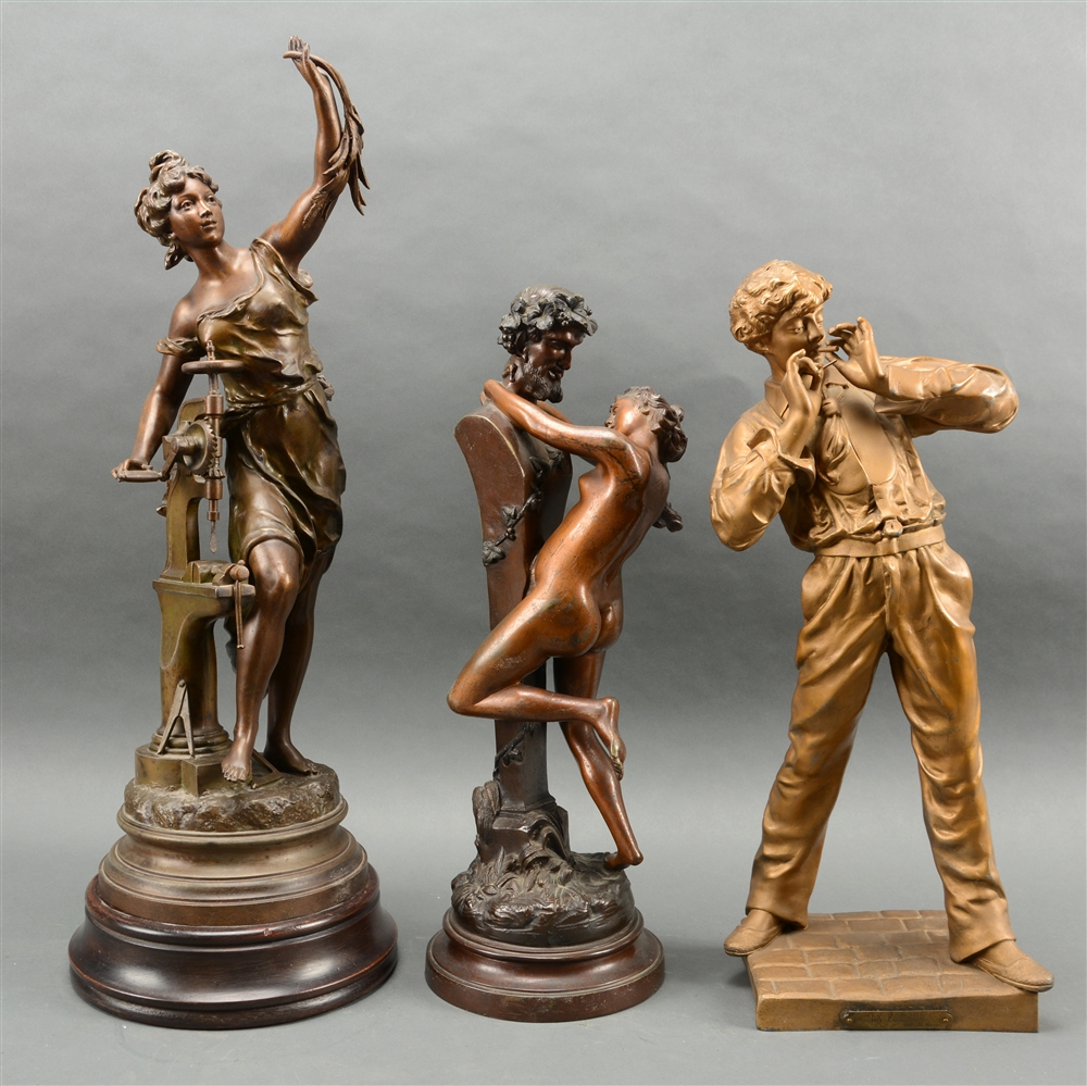 Lot Of 3: Bronze And Patinated Metal Figural Sculptures.