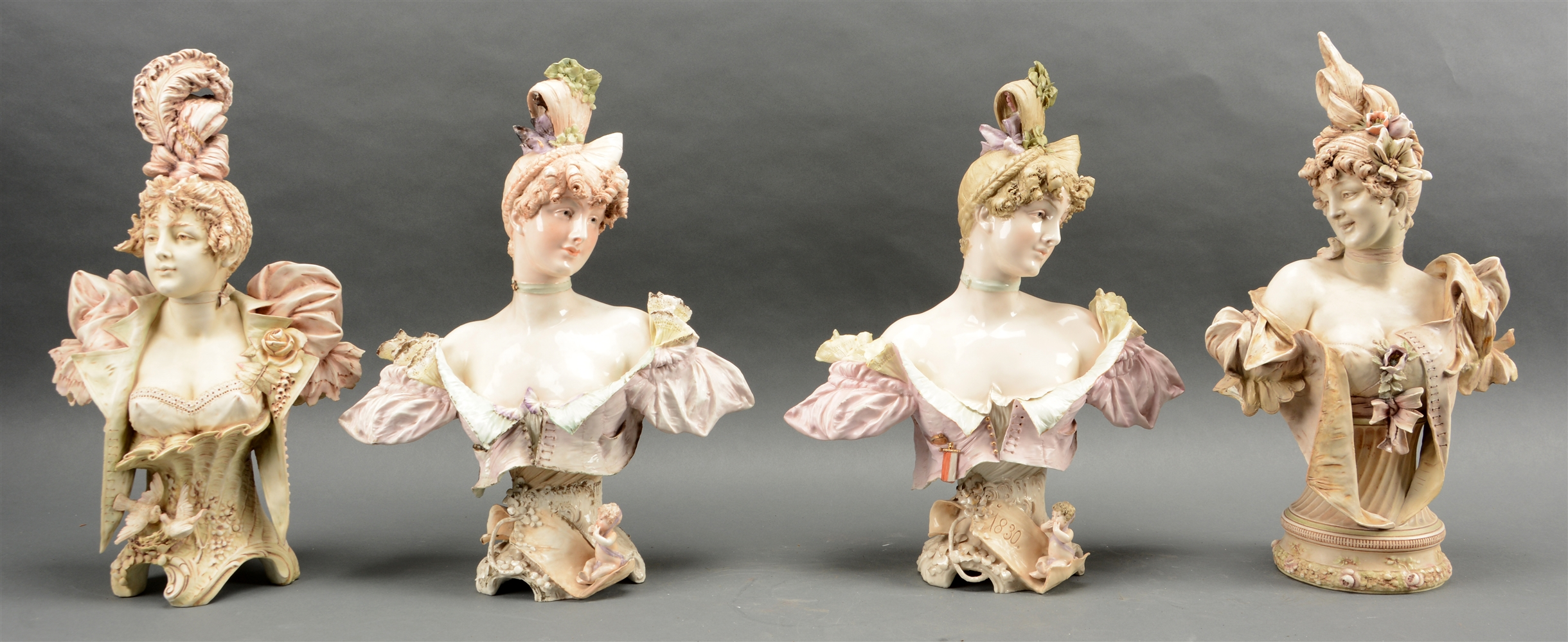 Lot Of 4: Porcelain Bohemian Female Busts.
