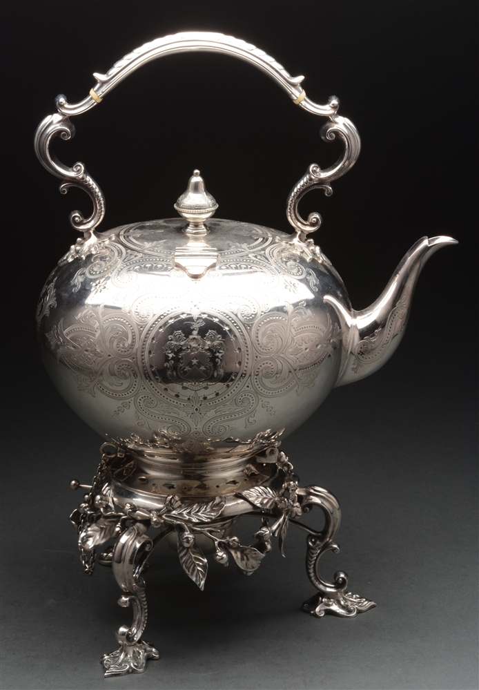 English Silver Kettle On Stand.