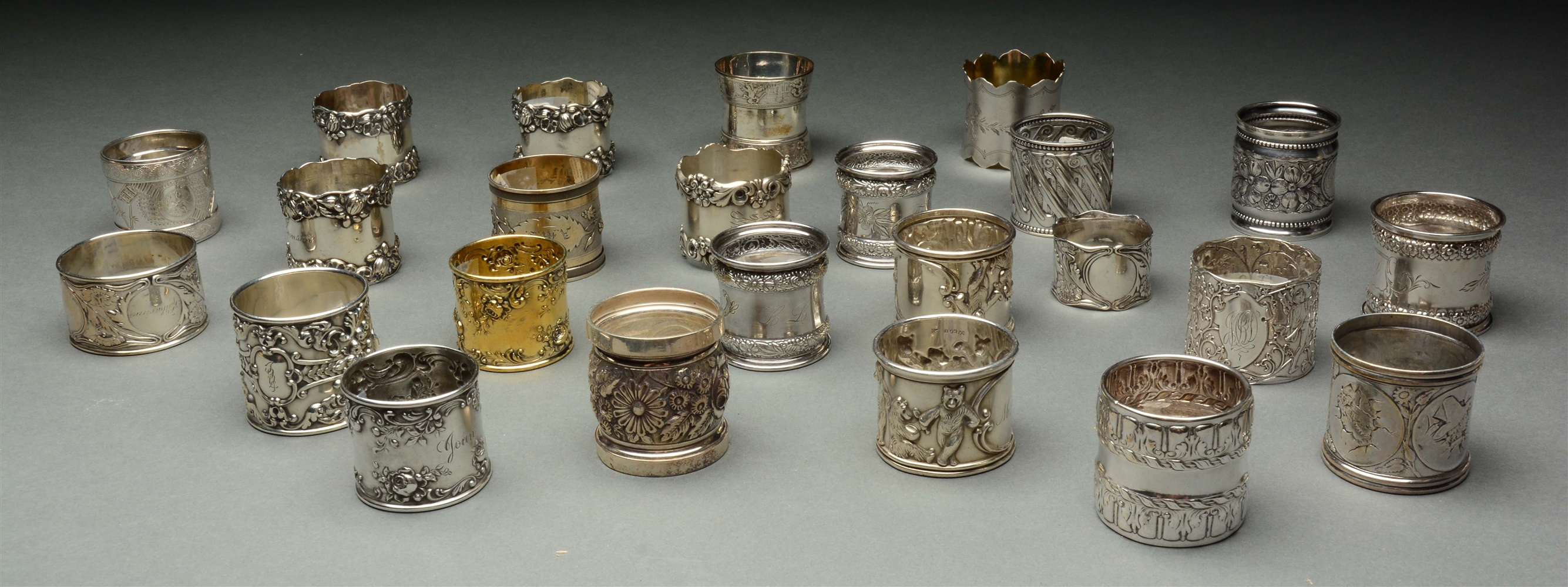 Lot Of 24: Gorham Sterling Silver Napkin Rings.