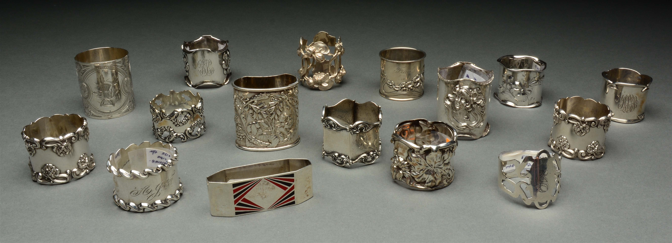 Lot of 16: Sterling Silver Napkin Rings.