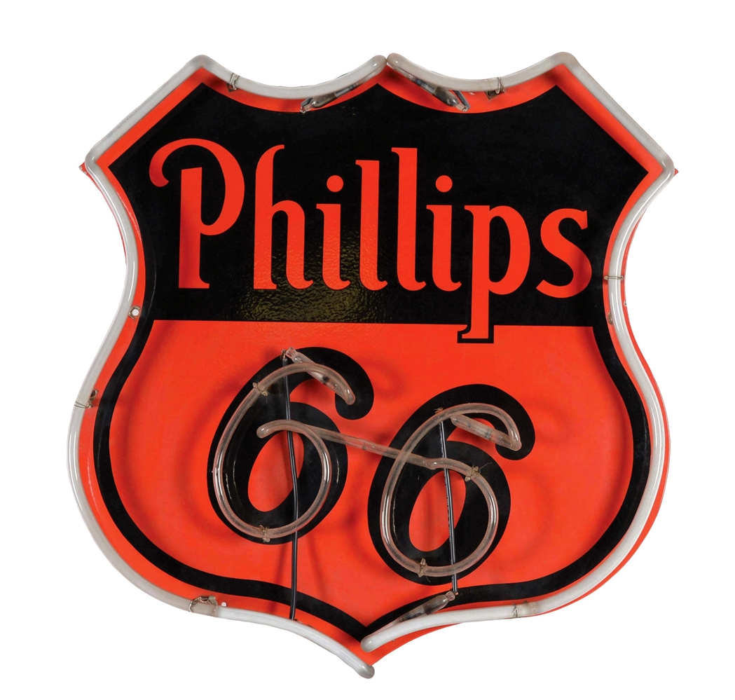 Phillips 66 Gasoline & Motor Oil Neon Sign.