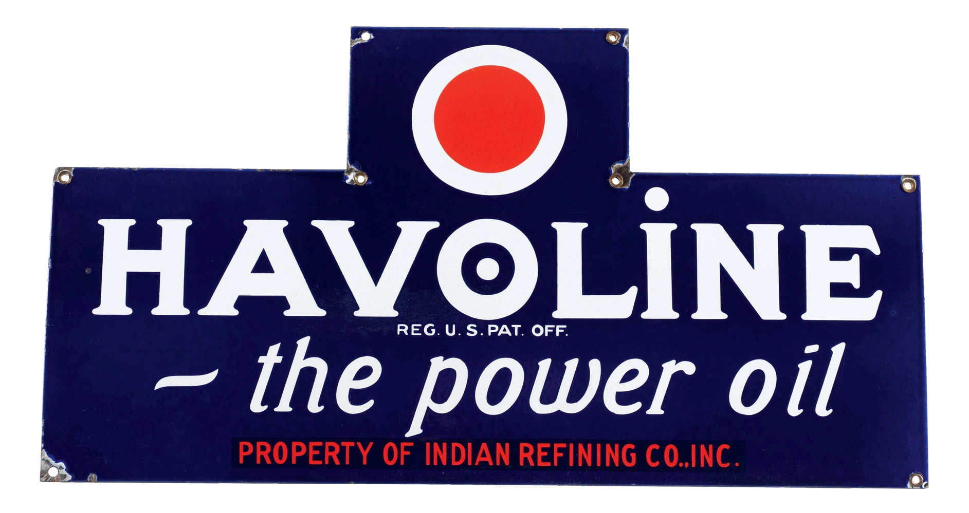 Havoline The Power Motor Oil Porcelain Bottle Rack Sign.