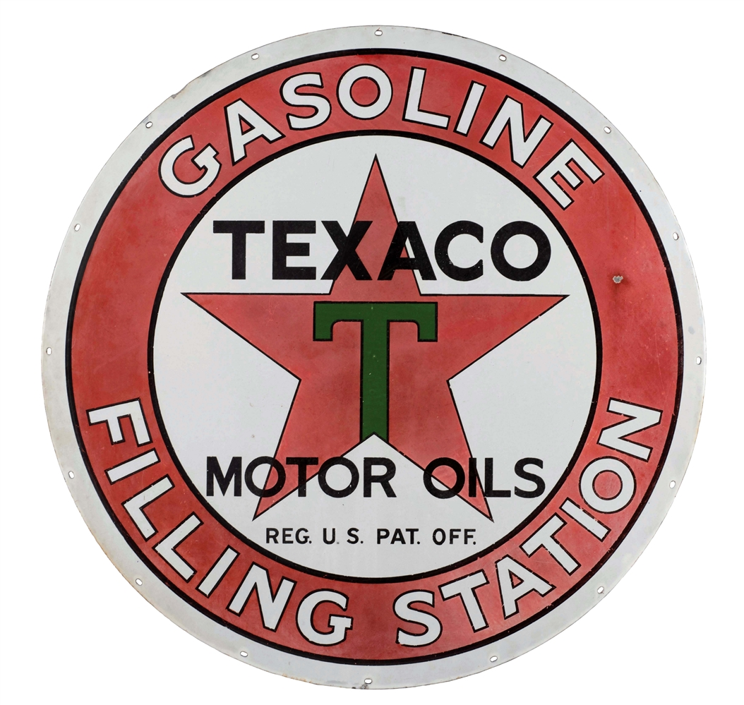 Texaco Gasoline & Motor Oil Filling Station Porcelain Sign.