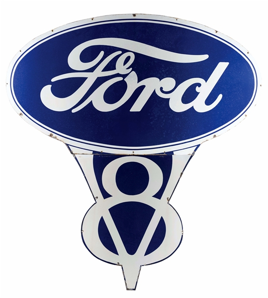 OUTSTANDING FORD V8 PORCELAIN DEALERSHIP SIGN.
