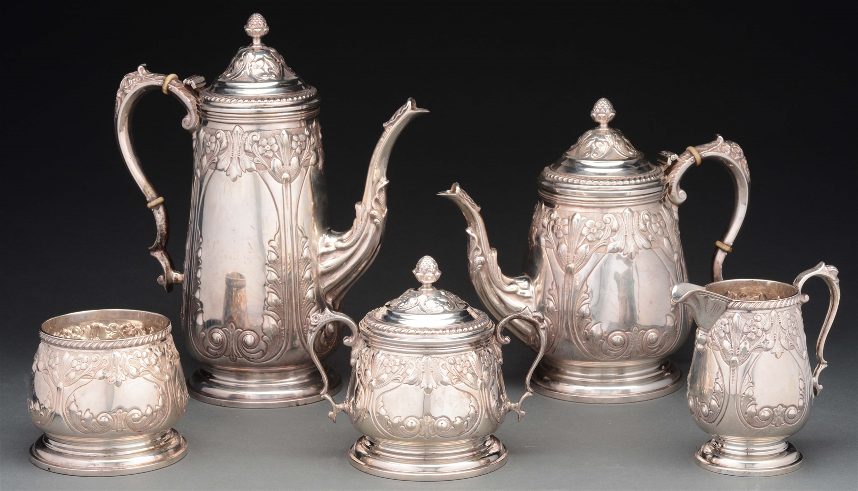 Durham Silver Co. 5 Piece Sterling Coffee & Tea Set.
