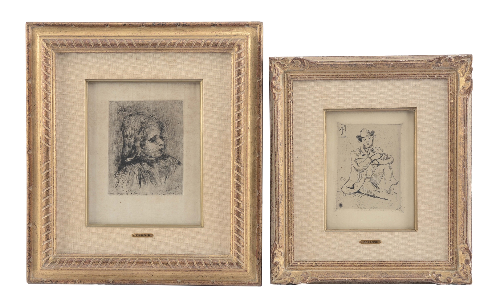 Lot Of 2: Etchings by Renoir and Cezanne.