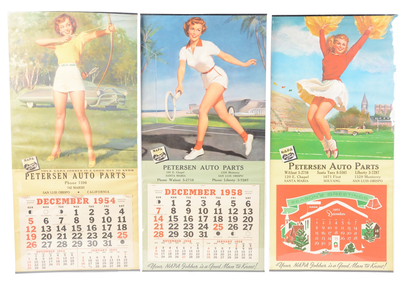 Lot of 3: Petersen Auto Parts Advertising Calendars