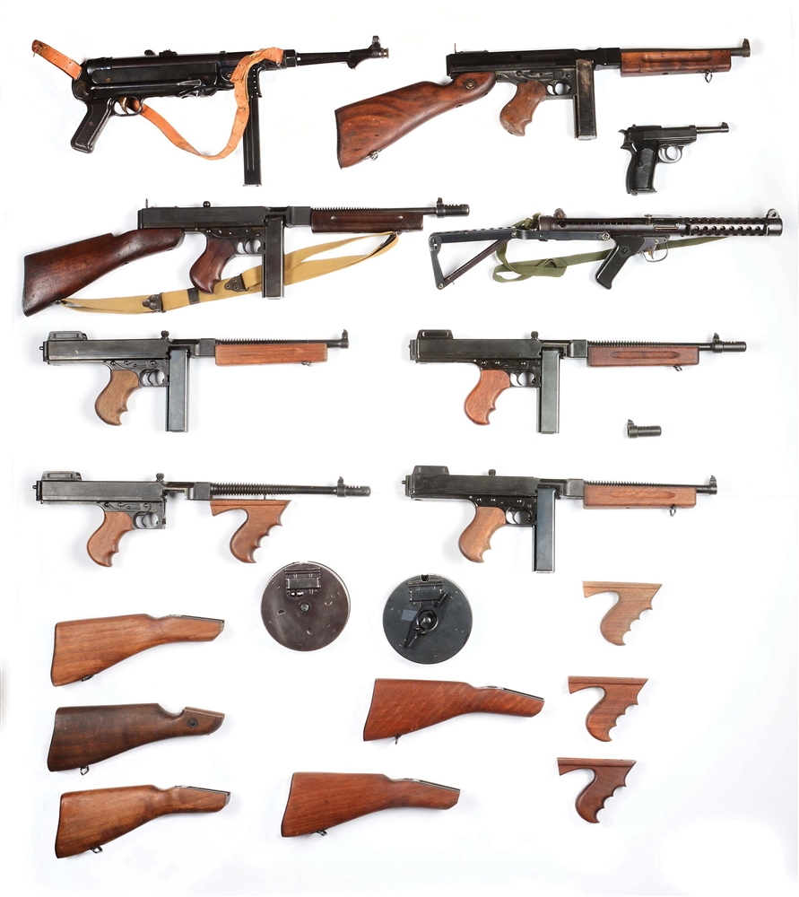 Lot of 13: Nine Prop Guns including Six Thompsons, One MP40, One Sterling Mk V and One Walther P38, Plus Accessories.