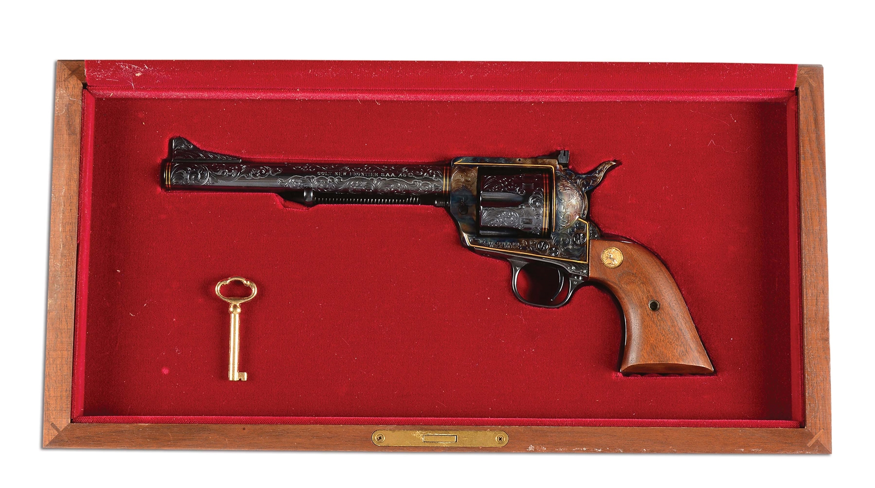 (M) Engraved Colt New Frontier Single Action Revolver with Case (1980).
