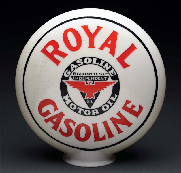 ROYAL GASOLINE ONE PIECE ETCHED GLOBE WITH INDEPENDENT LOGO.
