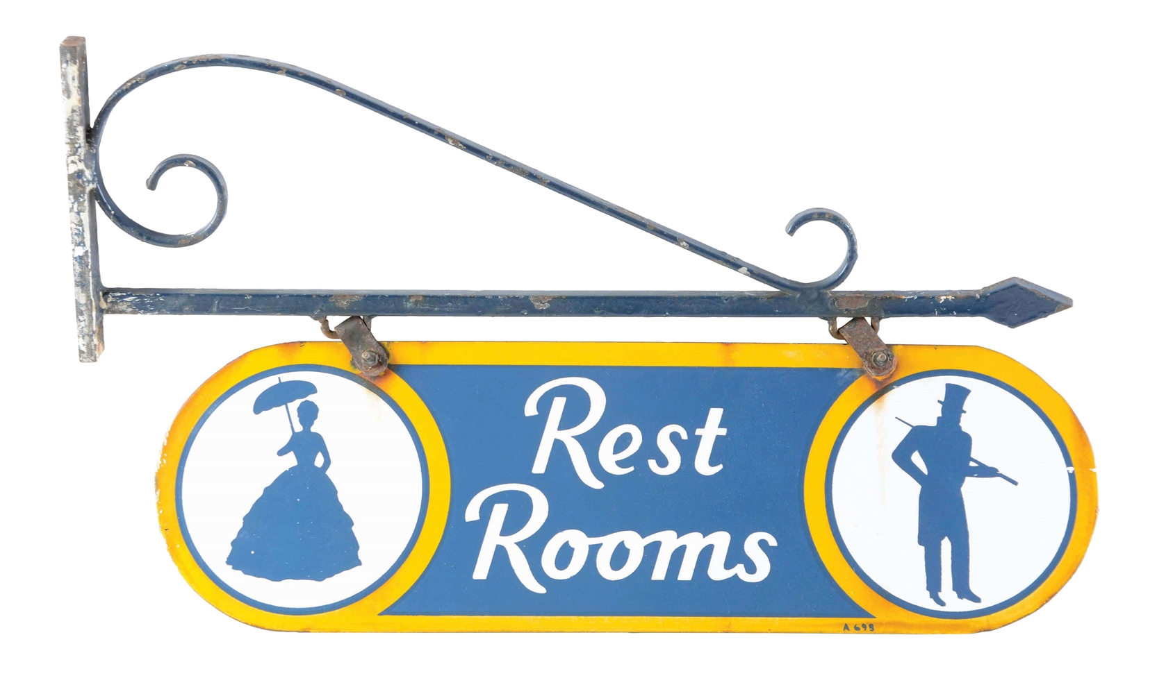 Sunoco Porcelain Rest Room Sign On Original Metal Bracket.