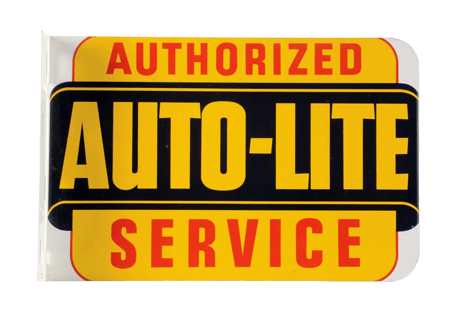 New Old Stock Auto Lite Authorized Service Tin Flange Sign.