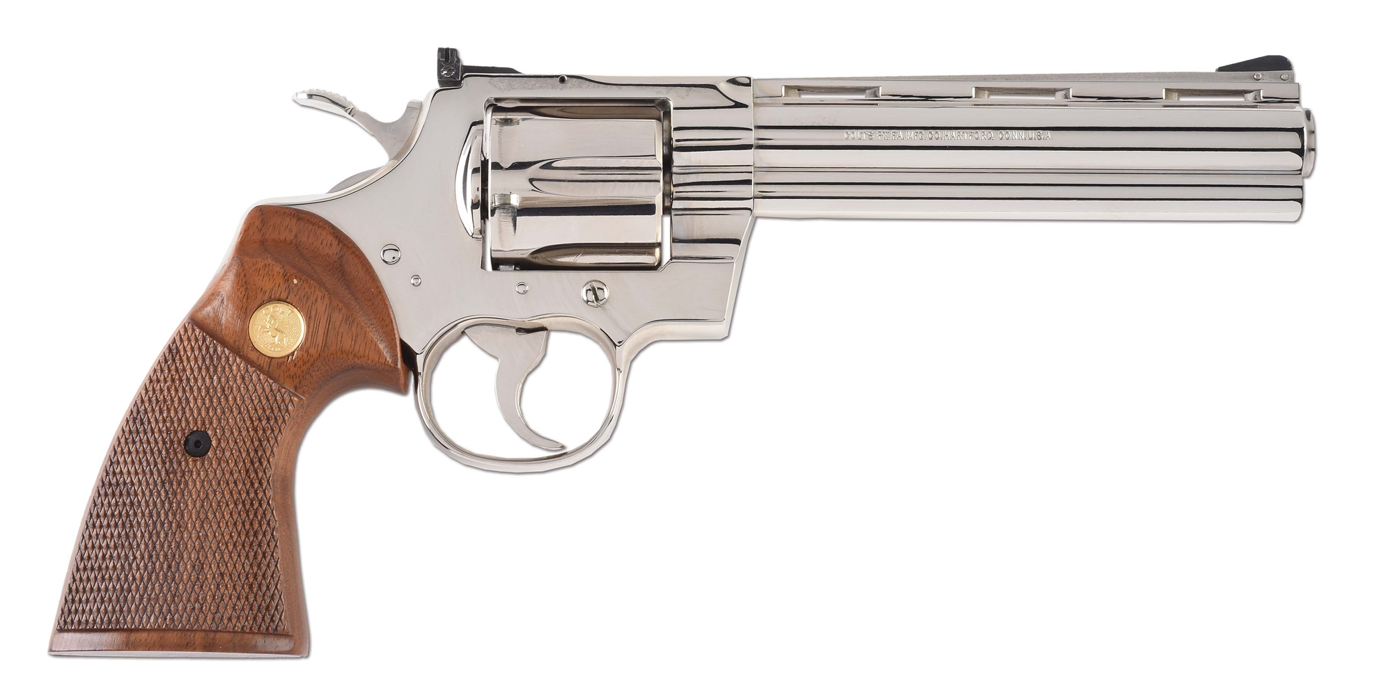(M) Boxed Colt Nickel Python Double Action Revolver (1980).