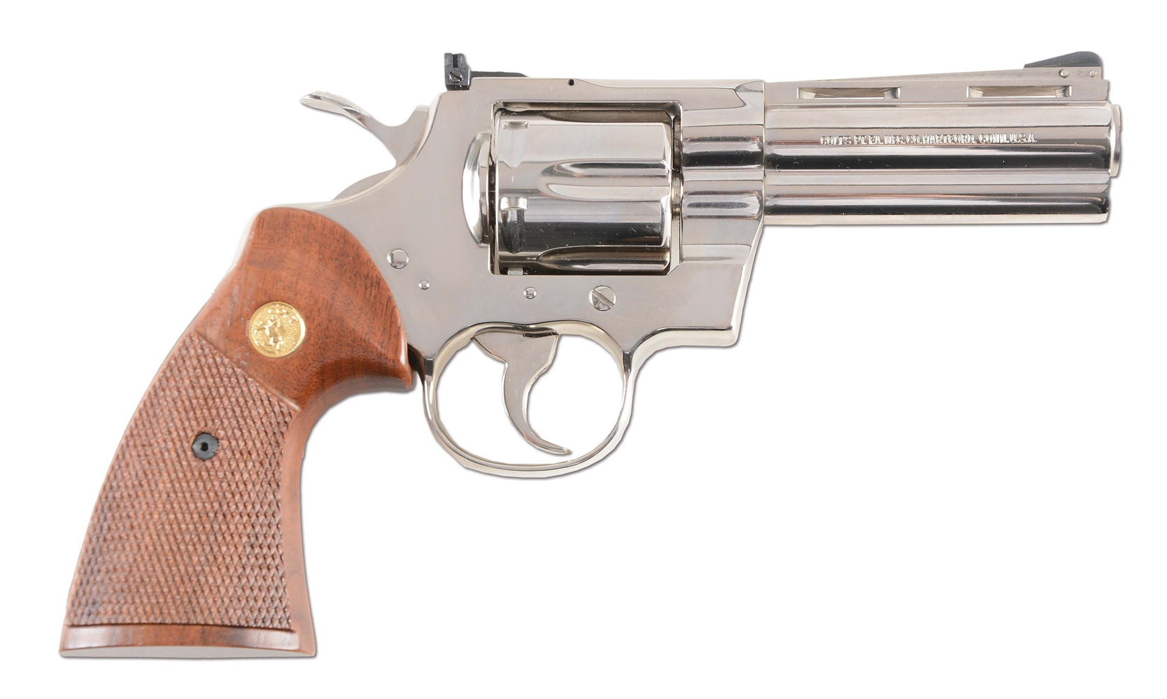 (M) Boxed Nickel Colt Python Double Action Revolver (1981).