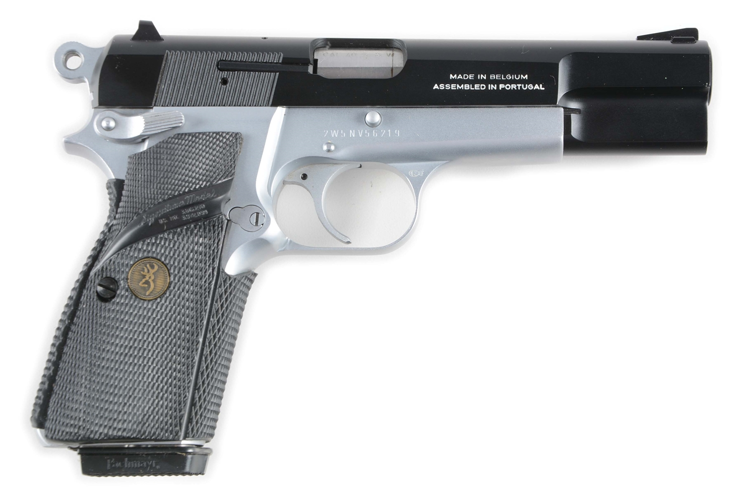 (M) Cased Browning Hi-Power Practical .40 Caliber Semi-Automatic Pistol.