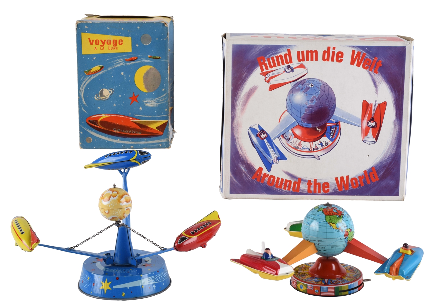 Lot of 2: Tin Litho Friction Wind Up Space Ship Carousels.