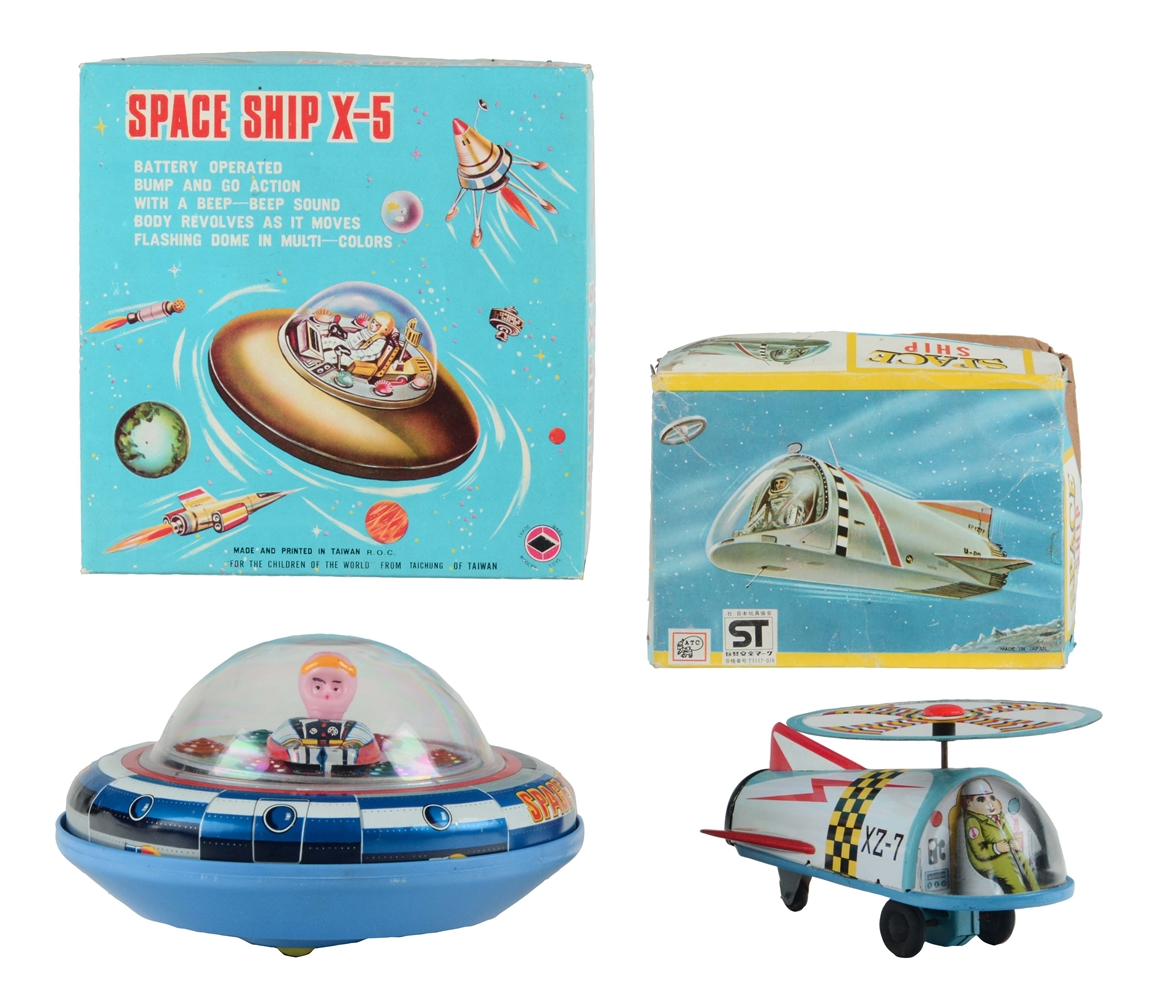 Lot of 2: Tin Litho and Plastic Space Ships.