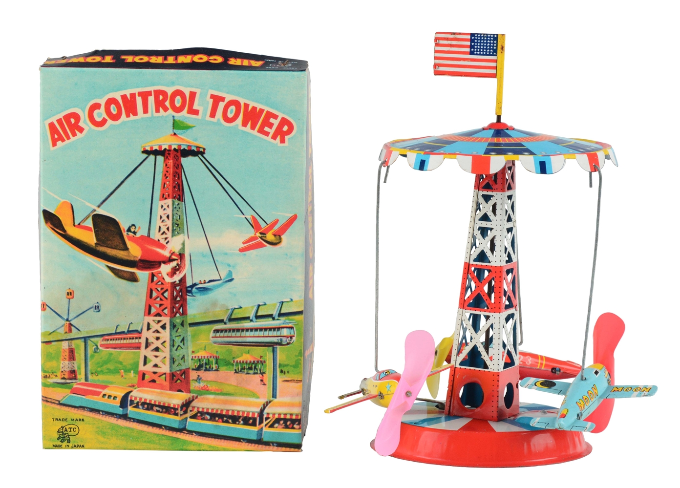 Tin Litho Wind Up Space Air Control Tower.
