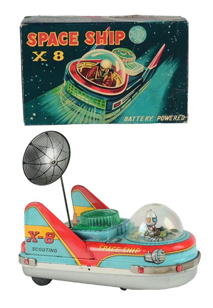 Tin Litho Battery Operated Spaceship X-8 Scouting.