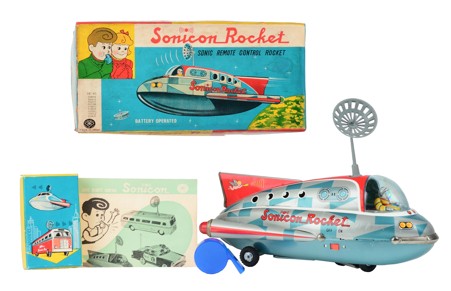 Tin Litho Battery Operated Checkered Sonicon Rocket.