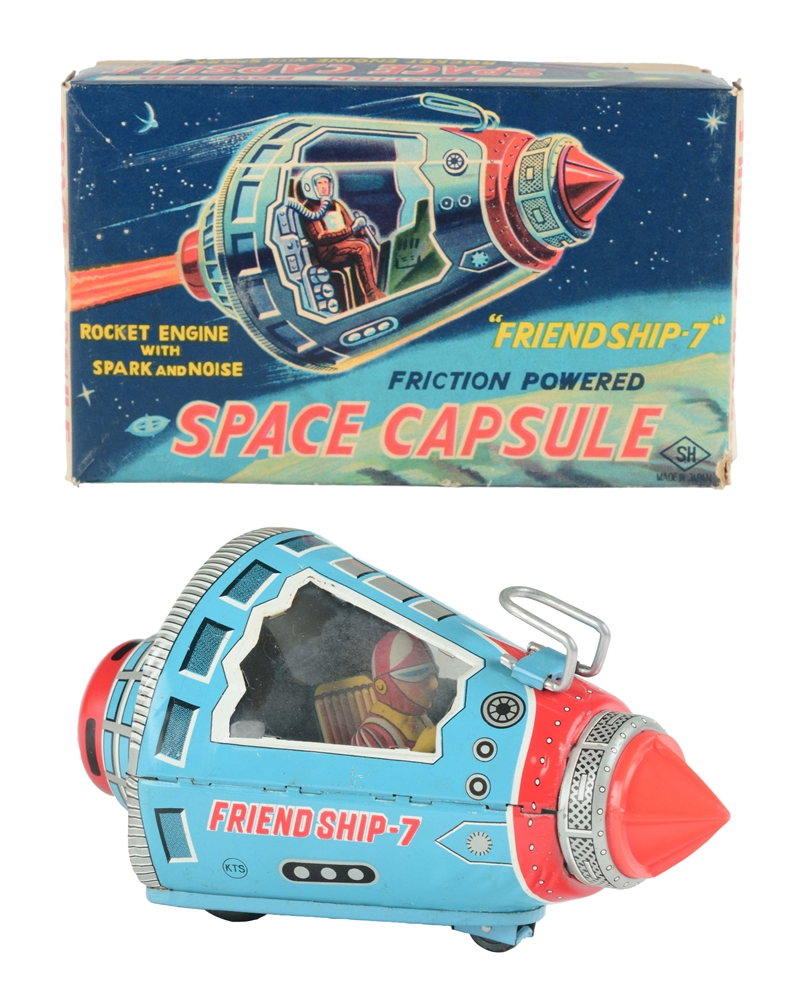 Tin Litho Friction Space Capsule Friend Ship 7.