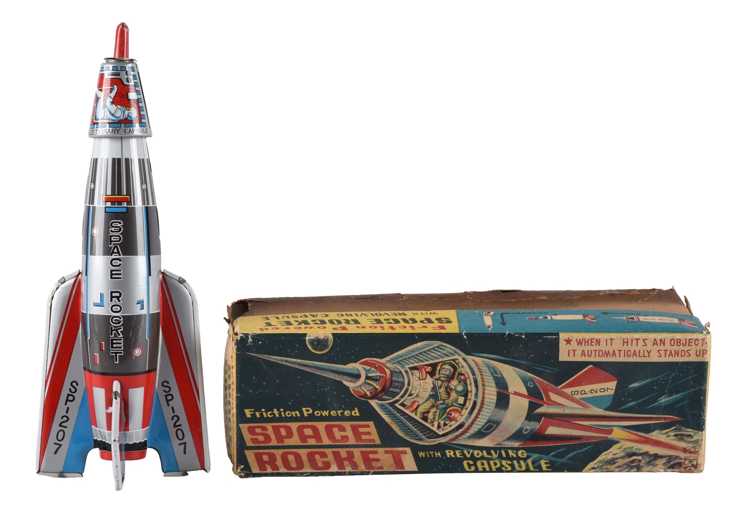 Tin Litho Friction Space Rocket with Revolving Capsule.