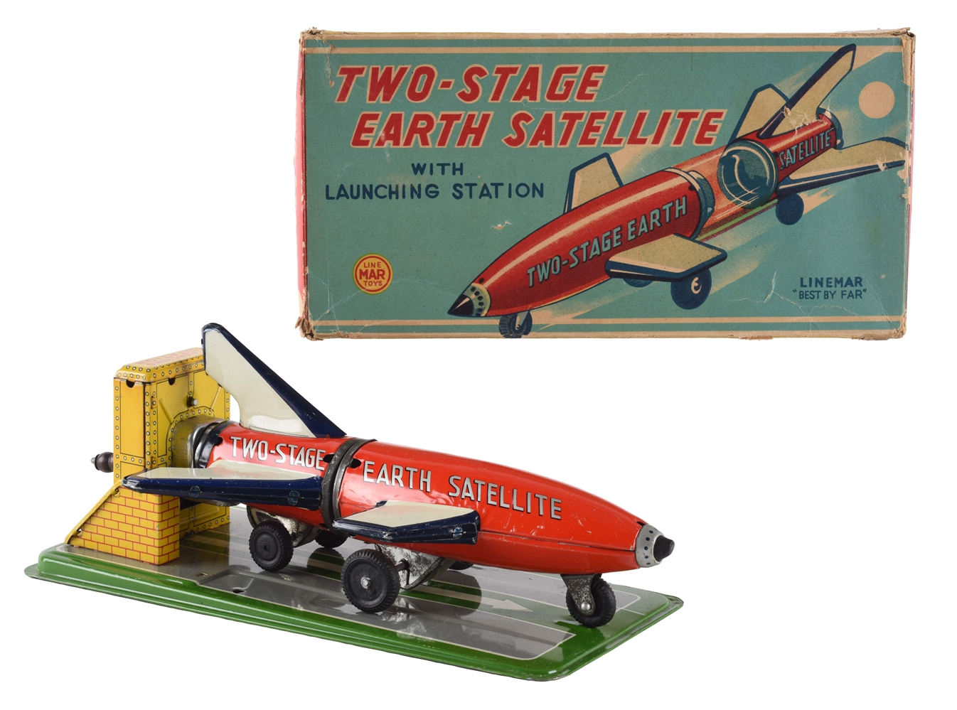 Tin Litho Wind Up Two Stage Earth Satellite.