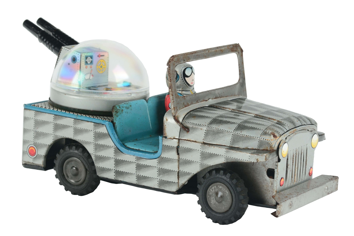 Tin Litho Friction Space Jeep with Cannons.