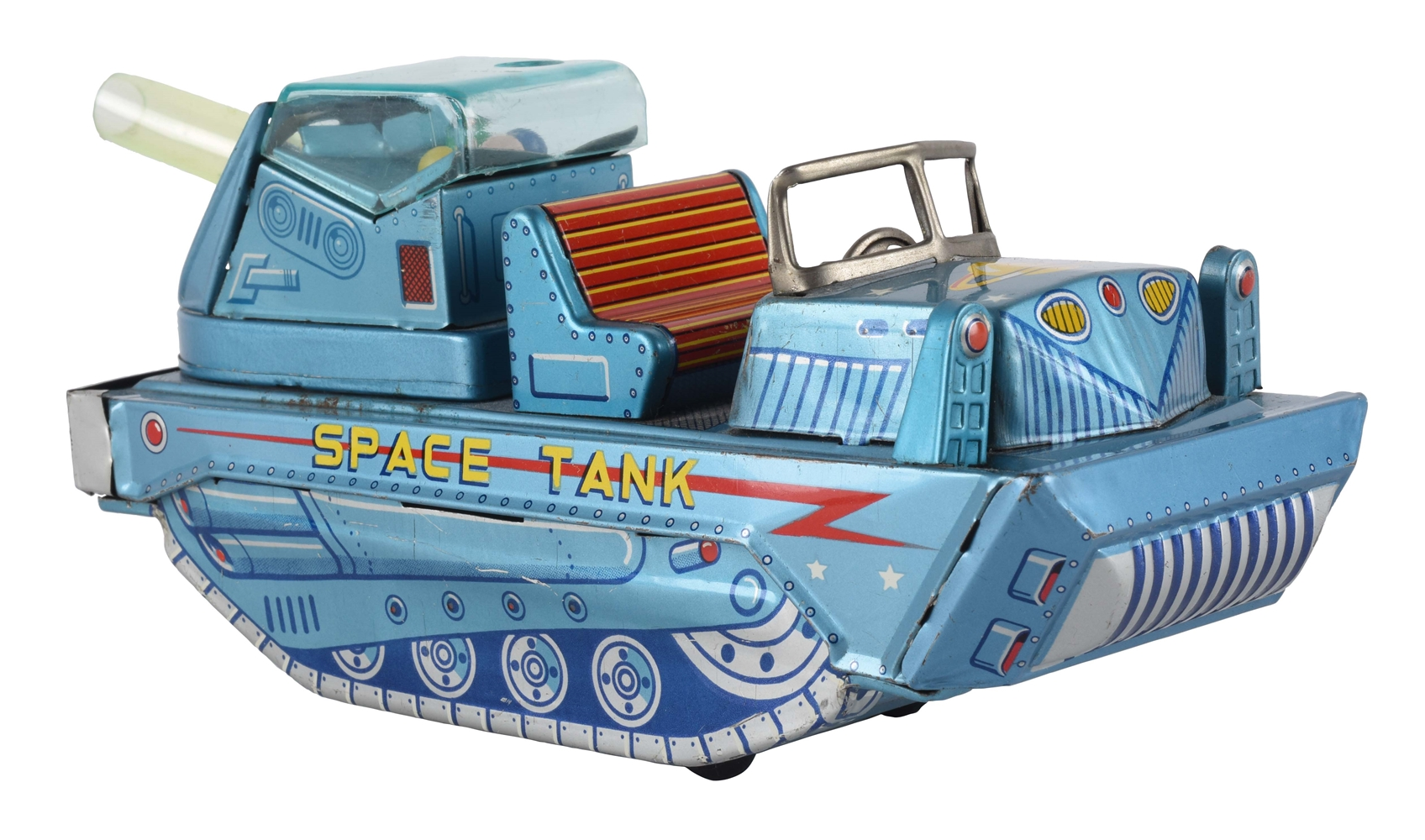 Tin Litho Friction Space Tank with Firing Cannon.